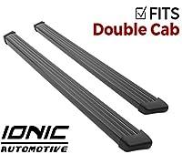 Ionic 61シリーズブラックランニングボード2014–2018Chevy Silverado GMC Sierra Double Cab (ガス) no mudフラップ