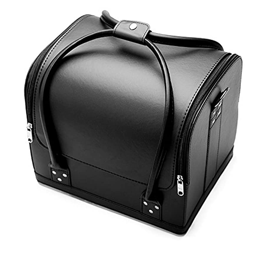 「XINXIKEJI」メイクボックス コスメボックス ネイルボックス 大容量 防水 洗える 化粧ボックス 肩掛け スプロも納得 収納力抜群 鍵付き オシャレ 祝日プレゼント 取っ手付 コスメBOXブラック