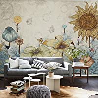 Lcymt 壁のための手描きの3D壁の壁画の壁紙ヒマワリの壁画の背景写真の壁の壁画リビングルーム用の壁紙-280X200Cm