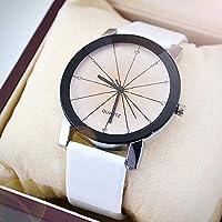 ACHICOO 時計 ベルトクォーツ 男性女性凸状子午線 ファッションレジャー 男性ホワイト