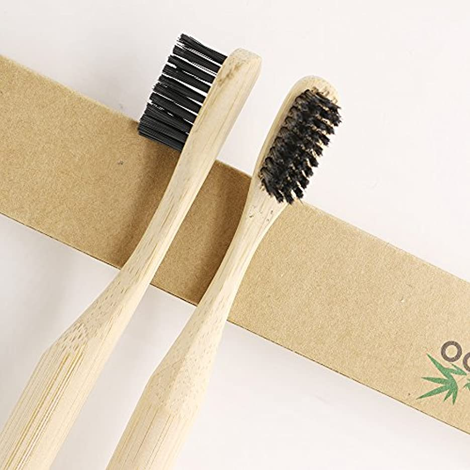 慢性的原点規模N-amboo 竹製耐久度高い 歯ブラシ  2本入り セット 黒い