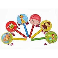 木製ペレットドラムRattle、gbell Kids Toy Cartoon Musical Instrumentおもちゃ、教育玩具ギフト