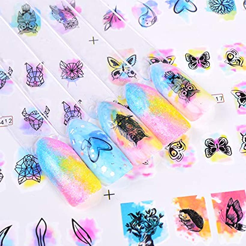 五月リングバック回答SUKTI&XIAO ネイルステッカー 12スタイルグラデーションネイルアート水転写ステッカーデカールラップ水彩マニキュア装飾ツール