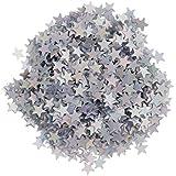 amleso 星 パーティー 飾り 紙吹雪 DIY 6ミリメートル 可愛い 銀色 プラスチック製