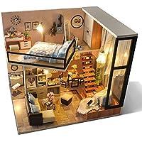 UniHobby ドールハウス ミニチュア DIYドールハウスキット 防塵カバー付き 1:24スケール 木製ハウス おもちゃ