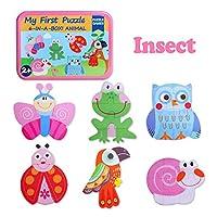 幼児教育パズル木製パズルアイアンボックス フルーツ動物昆虫パズルマッチングおもちゃ 2歳以上の子供に最適,C