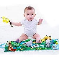 Jollybaby 布製本 赤ちゃん用 ソフトブック おもちゃ 新生児 1歳 幼児 知育玩具 男の子 女の子 タッチ&フィールアクティビティ ジャングルアニマルジムプレイマット シャワーギフトボックス