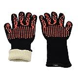 Lifbetter 耐熱グローブ 耐熱手袋 キッチン&バーベキューグローブ BBQ専用手袋 約500℃まで耐えられる(2枚入り) (赤)
