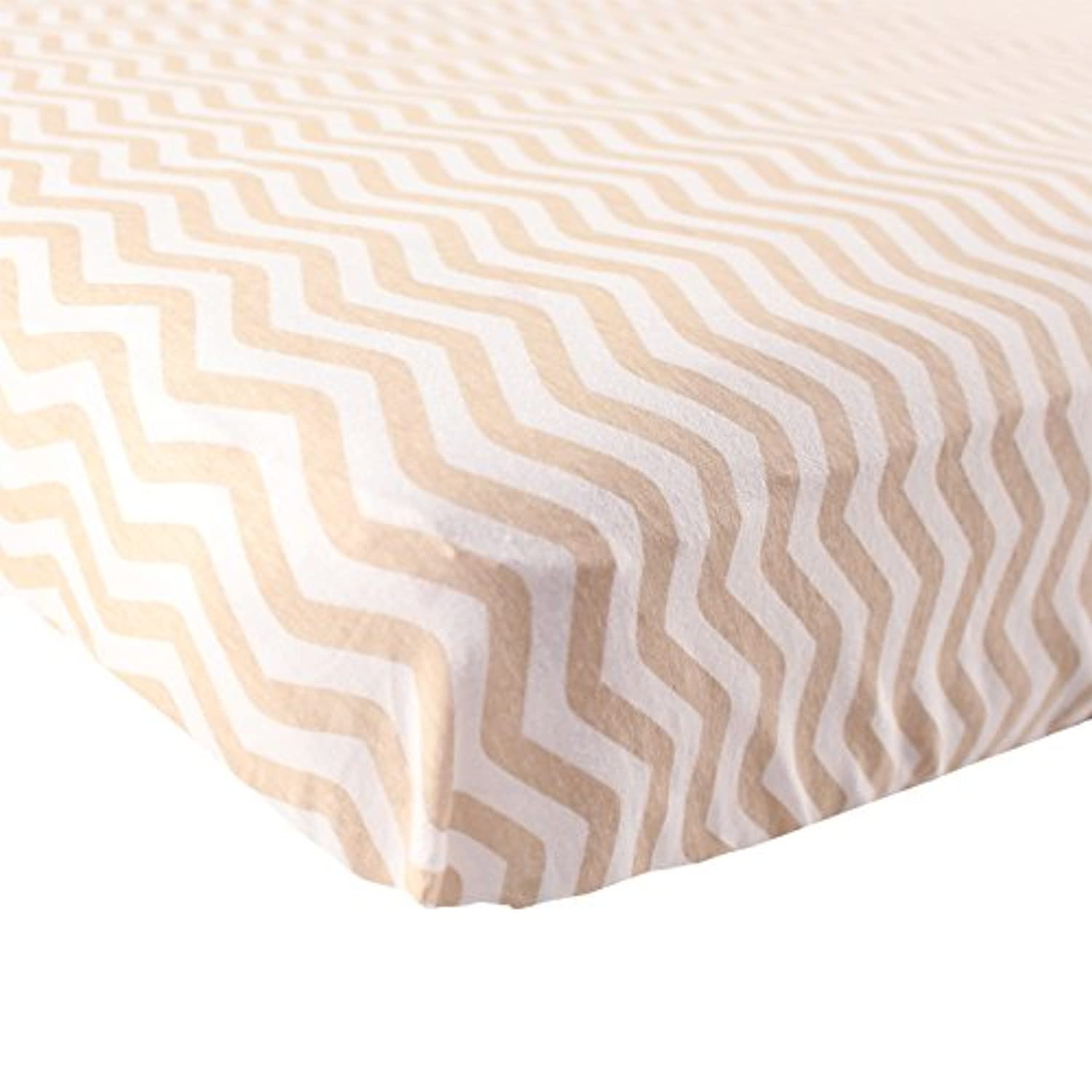 Luvable Friends Fitted Knit Cotton Crib Sheet, Tan Chevron, One Size by Luvable Friends
