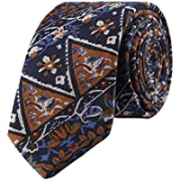 VE Cotton Necktie Unique Printed Pattern Casual Style Gift Box Package Arrow Type Slim Tie For Men