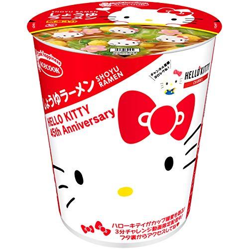ハローキティ45周年お祝いカップ麺(しょうゆラーメン)の通販の画像