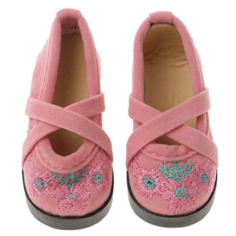 SONONIA 1/3 BJD SD ドール用 人形用 ベルベット 花柄 刺繍 靴 ブーツ 人形のアクセサリー ピンク