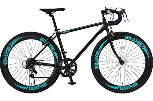 【完成車 組立済み】 NEXTYLE (ネクスタイル) SHIMANO(シマノ) ロードバイク ロードレーサー 男女兼用(初心者対応 身長160cm以上 サイズ440mm) 7段変速 RNX-7007(ブラック グリーン)