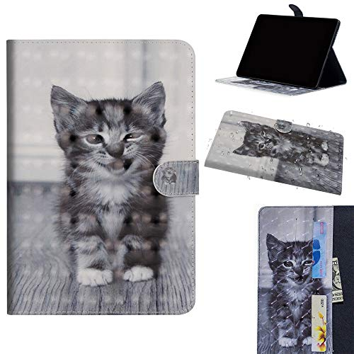 DodoBuy Samsung Galaxy Tab S4 10.5 ケース 3D 手帳型カバー 革 マグネット式ド収納 スタンド機能 財布型 カード収納 おしゃれ フリップ磁気閉鎖 ために Samsung Galaxy Tab S4 10.5 - 猫
