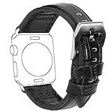 Apple Watch バンド COCASES iWatchバンド アップルウォッチ交換ベルト 高級感 時計ベルト 本革 柔軟 男女兼用 おしゃれ 42mm ブラック