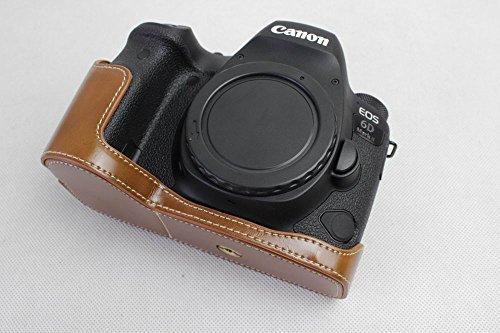 Canon キヤノン PEN 6D MARK II 6D2 カメラ バッグ カメラ ケース 、Koowl手作りトップクラスのPUレザーカメラハーフケース、Canon キヤノン PEN 6D MARK II 6D2 一眼カメラケース、防水、防振、携帯型、透か