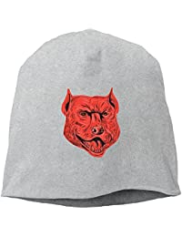 【Dera Princess】メンズ レディース ニット帽 Pitbull Dog Mongrel Head Drawingロゴ コットン ニットキャップ 帽子 オールシーズン 被れる