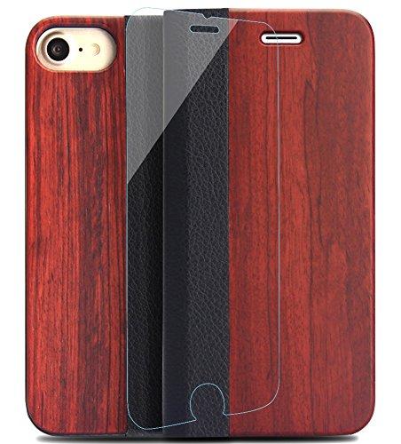 YFWOOD iPhone7 iPhone8ケース 手帳型 木 フィルム アイフォン7兼用財布型 スタント機能 カードポケット