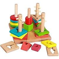 Linshop ファンシーな幾何学的マッチングブロックの3次元ジグソーパズル- 3歳の木のおもちゃ