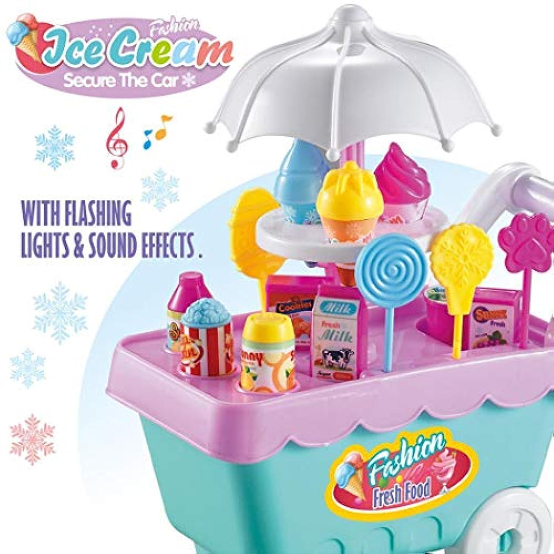 Dongtu 19ピース キッズ 回転アイスクリームキャンディカート 食品スーパーマーケットトロリーおもちゃ ブルー EEEE