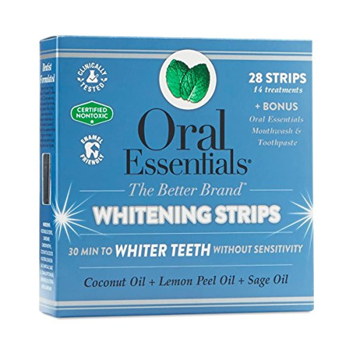 ホワイトニングストリップ オーラルエッセンシャル 14回分(上下24枚) 過酸化物なし、非毒性、敏感な歯茎に方にもやさしい 海外直送品