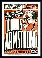 ポスター ルイ アームストロング ルイ アームストロング - Connie\'s Inn NYC、 1935 - 額装品 ウッドハイグレードフレーム(ネイビー)