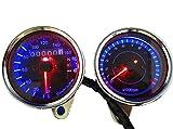バイク 用 スピードメーター LED バックライト で 夜 でも 明るく 見やすい 凡用 タイプ (機械式スピードメーター + 機械式 タコメーター 2点 セット)