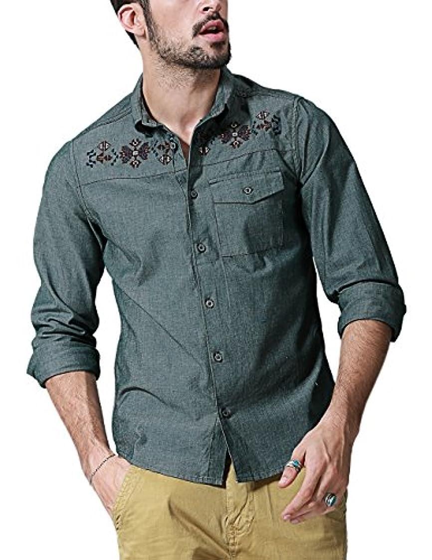 概念甘美なダンプ(マッチスティック) Matchstick ボタンダウンシャツ メンズ 長袖 カジュアル ワイシャツ #G2263(6XL,モスグリーン)