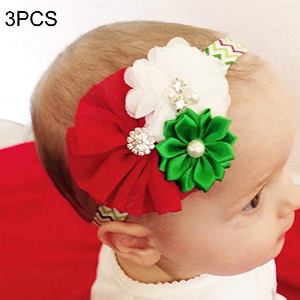 促進する不正確努力するフラワーヘアピンFlowerHairpin YHM 3ピースクリスマスデコレーション赤ちゃん子供シフォンフラワーヘッドバンド、西部子供休日ドレス飾り、ランダムスタイル配信