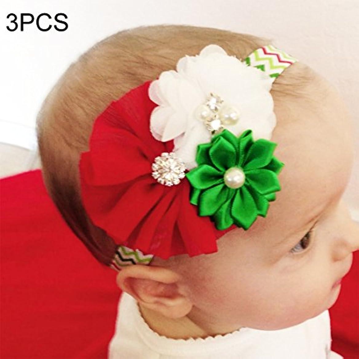 トーンアレルギー性不条理Hairpinheair YHM 3ピースクリスマスデコレーション赤ちゃん子供シフォンフラワーヘッドバンド、西部子供休日ドレス飾り、ランダムスタイル配信