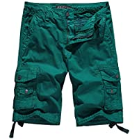 WenVen Men's Cotton Twill Cargo Shorts Outdoor Wear Lightweight No.4 Grass Green 40