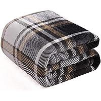 Kawahome フランネル 毛布 シングル マイクロファイバー フリース ブランケット 静電気防止 軽量 無地 あたたかい 柔らかい ケット ベッド ソファー 掛け毛布 (チェック柄 ブラウン, 140cmⅹ200cm)