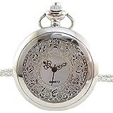 [モノジー] MONOZY アンティーク ネックレス 時計 - 透かし彫り ハーフハンター - 【ブラック/シルバー から】 【収納袋 化粧箱】 ふた付き 懐中時計 上品な ネックレス時計