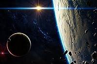 惑星の周りの小惑星 - キャンバスアートプリントポスター - 芸術はポスターを印刷します - 60cmx40cm