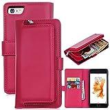 LongRise iphone7 ケース 手帳型 財布一体型 分離可能携帯ケース 多機能 小銭入れ (ローズピンク)