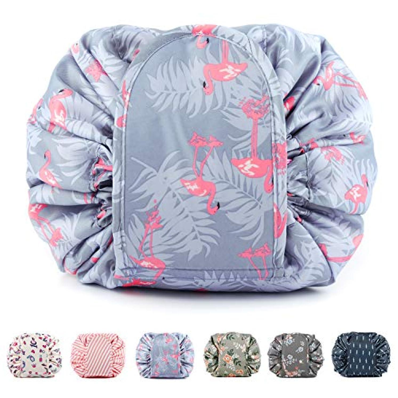 ディプロマ面アイデアNarweyレイジー化粧バッグ ドローストリングコスメティックバッグ 大容量 防水 トラベルケース 化粧品収納袋 メイクポータブルバッグ レディース