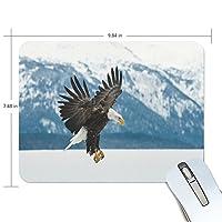 qqmarketマウスパッドノートPC、パソコンマウスパッド、タイリクワシミミズクの雪の非スリップ鳥ゲーム用マウスマット9.8X 7.5インチ 9.8x7.5x0.2 inch
