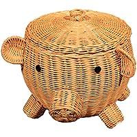 籐かごバスケット 籐収納ボックス 籐貯蔵バスケット ストレージボックス 籐の豚の貯蔵バスケット動物の形の装飾品純粋な手工芸品のバスケット籐のストレージ豚形の箱ホテルホームショールームインテリアデコレーション