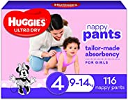 Huggies Ultra Dry Nappy Pants Girl Size 4 (9-14kg) 116 Count