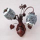 レトロウォールライトカフェロビーの壁のランプの寝室のベッドサイドの階段の鉄馬花瓶花灯ダブルヘッドウォールライト