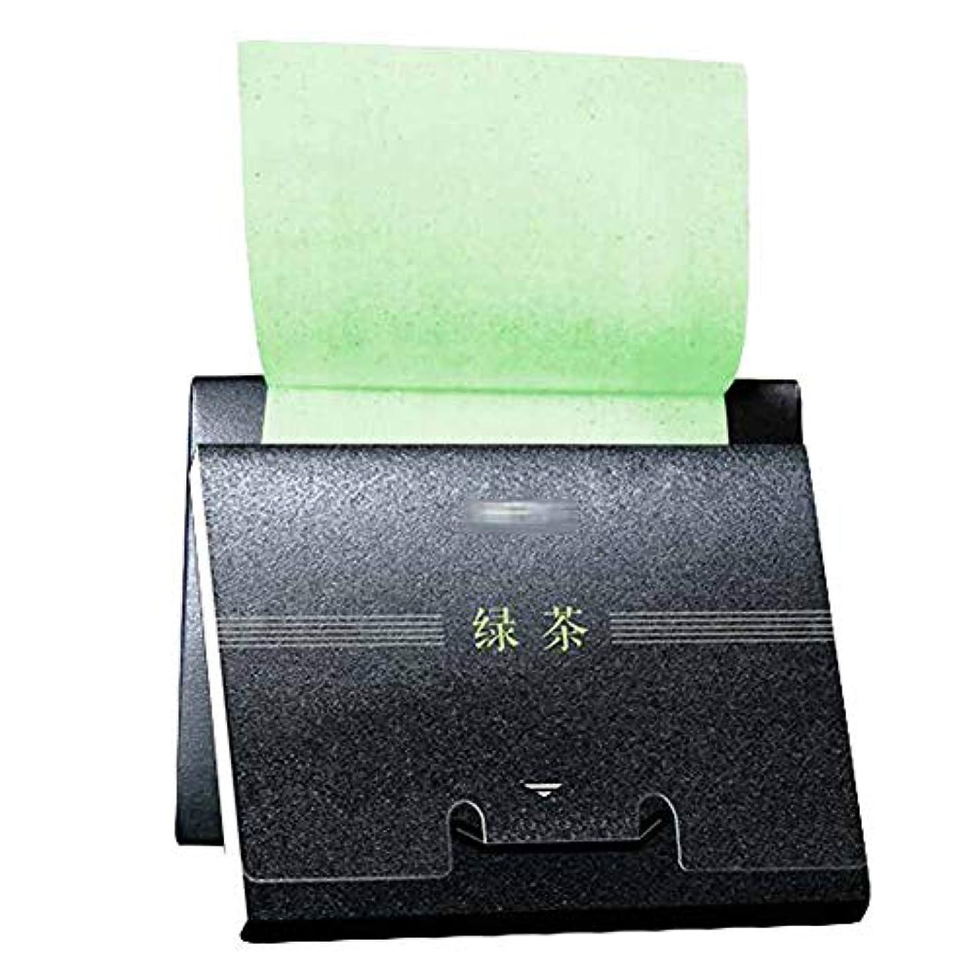 オーロック節約改修する緑茶男性女性オイル吸収シート、300シート