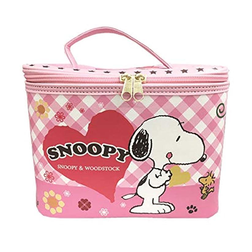 強化センサーようこそ【SNOOPY】 スヌーピー バニティ ケース + ミニタオル セット 大容量 コスメ ポーチ 化粧 バッグ ミラー付き