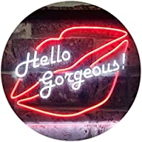 Hello Gorgeous Lips Room Decoration Dual LED看板 ネオンプレート サイン 標識 White & Red 300mm x 210mm st6s32-i3179-wr