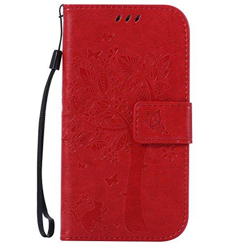 Galaxy S4 ケース CUSKING 手帳型ケース 高品質 PUレザー カードポケット全面保護 フリップ カバー 落下防止 衝撃吸収 財布型 ギャラクシ S4 対応 - レッド
