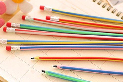 芯が折れないくねくね鉛筆曲がるストライプカラー子供会パーティゲームイベントお祭り忘年会景品粗品(60本セット)