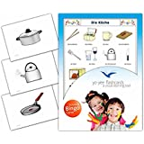 Kitchen Flashcards in German Language - Flash Cards with Matching Bingo Game for Toddlers, Kids, Children and Adults - Size 4.13 × 5.83 in - DIN A6