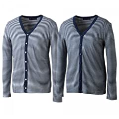 Saint James V-neck Cardigan: White / Navy, Grey / Navy