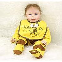 NPK collectionシリコン少年ビニールベビー人形22インチRealistic RebornキッズWearing Yellow Bee服子供誕生日クリスマスギフトFreeマグネットおしゃぶりダミー