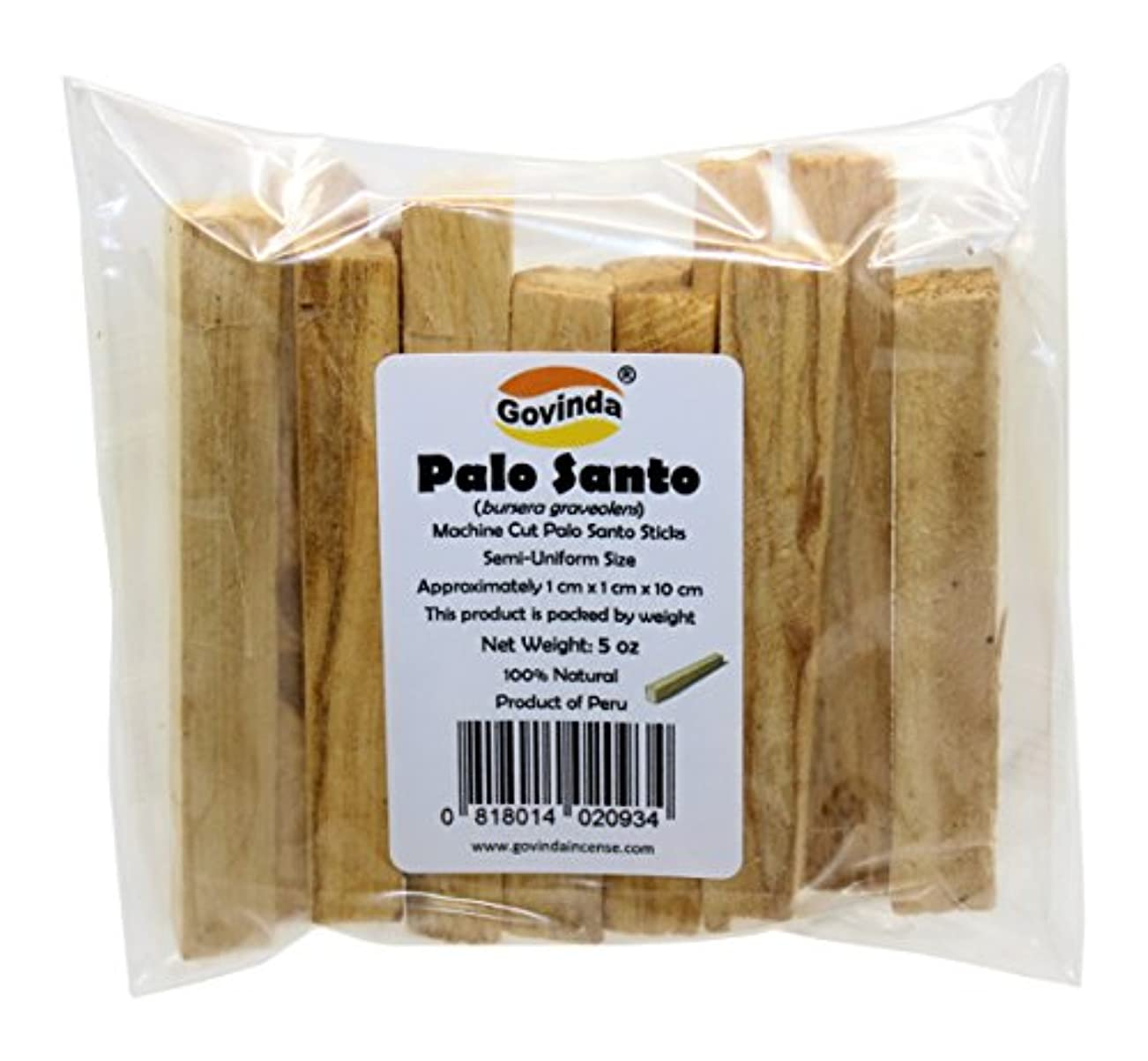 暗殺するビルコンベンションGovindaプレミアムPalo Santo Holy Wood Incense Sticks 5オンスパックfor purifying、クレンジング、ヒーリング、瞑想、Stress Relief。100 %天然
