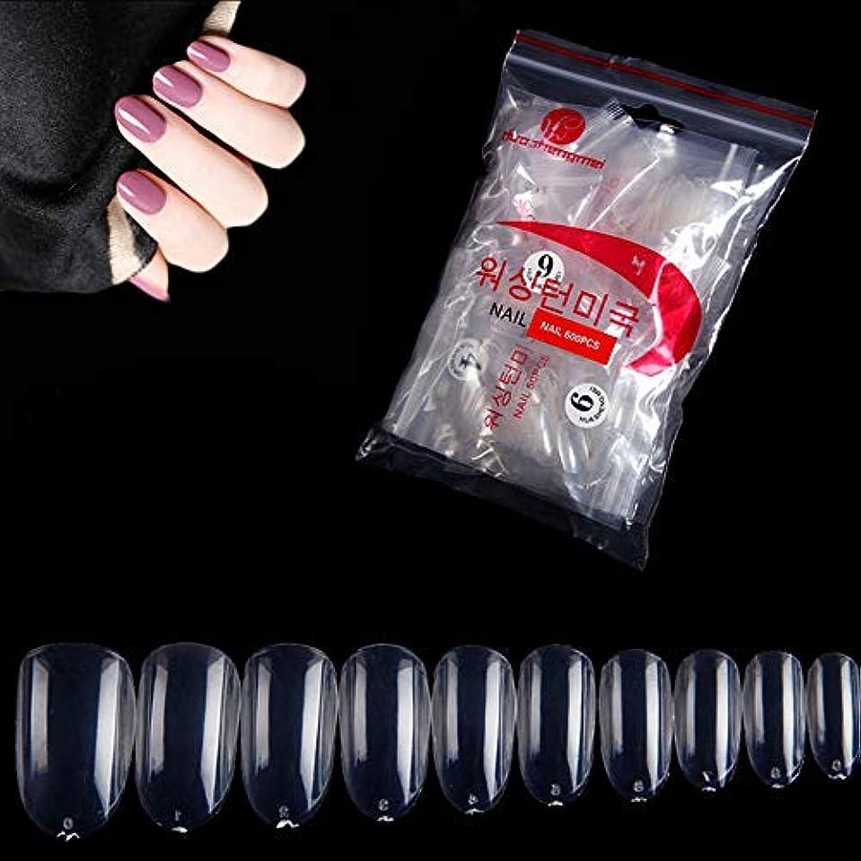 捨てる不和怪しい透明ネイルチップ 600枚入り 10種のサイズ ネイル用品 ネイル飾り デコレーション 無地 付け爪 オーバルフルカバー 透明 DIYネイル
